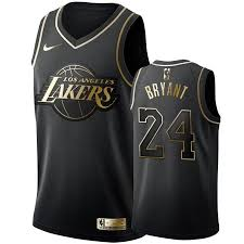 The lakers keep their franchise font but don blue and white as they reference the minneapolis and 1960s la lakers. Golden Edition Black La Lakers Jersey Kobe Bryant Kobe Bryant 24