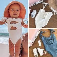 Đồ bơi màu trơn thời trang đi biển cho bé gái sơ sinh 0-3 tuổi XZQ - Đồ bơi bé  gái