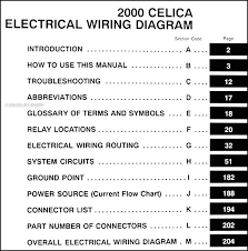 2000 toyota celica wiring diagram manual original covers all 2000 toyota celica models including gt gt s liftback this book measures 8 5 x 11 and is 0 38 thick buy now for the best electrical
