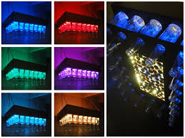 picture of aluminum copper colored beer bottle led light chandelier with cap saver display