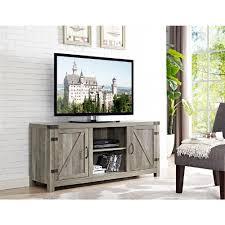 gray living room furniture. 58 In. Barn Door TV Stand With Side Doors - Grey Wash Gray Living Room Furniture O