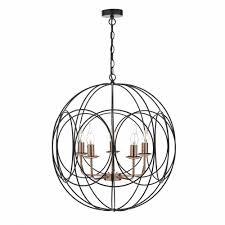 geometric 5 light black and copper ceiling pendant