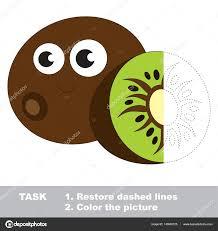 Kiwi Colorier Jeu De Traces Vecteur Image Vectorielle
