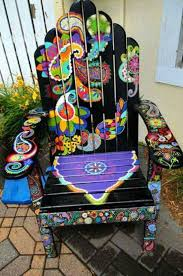 cool painted chairs. cool hand painted chair. gypsy home decor. chairs n
