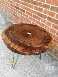 round live edge coffee table claro walnut dark wood nailhead inlay 10 e174046e 651b 4e34 8ea7
