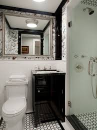 black bathroom vanity. small traditional 3/4 white tile and mosaic multicolored floor alcove shower idea in black bathroom vanity t