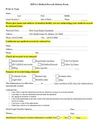 Personal Health Record Forms 40 Medical Records Release Form Release Of Information