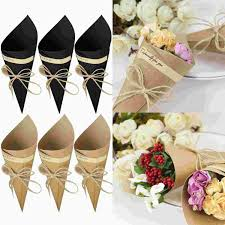 Paper Cones For Flower Petals Bevigac Brown Black Wedding Favors Kraft Paper Cones Candy Box Ice