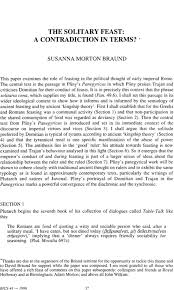 THE SOLITARY FEAST: A CONTRADICTION IN TERMS?* - BRAUND - 1996 - Bulletin  of the Institute of Classical Studies - Wiley Online Library