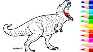 Small Picture Tyrannosaurus Rex Drawing and Coloring Dinosaur in Jurassic World
