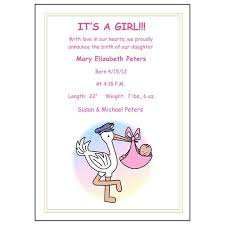 Announcement For Baby Girl Pastel Stork Baby Girl Birth Announcements Mandys Moon