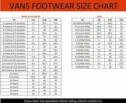 Kids Vans Size Chart Shoes Vans Online Shopping Share