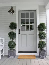 above image prettiest pale grey front door with chalk white trim by henhurst interiors