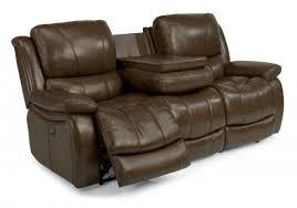 zandra leather reclining sofa by