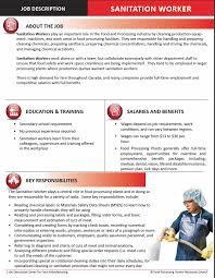 Sanitation Worker Job Description Food Processing Skills Canada Free Downloads