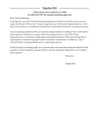 Call Center Cover Letter Best Call Center Representative Cover Letter Examples Livecareer 1