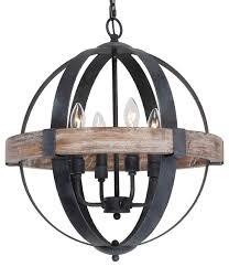 castello 4 light wood chandelier brown