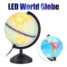 360 rotasyon dünya küre haritası led ışık standı ile ev ofis masası  dekorasyon çocuk çocuklar toprak coğrafya eğitici oyuncak hediye|Coğrafya