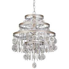 charmed 9 light silver with champagne mist chandelier with clear crystal beads