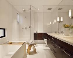 design walk shower designs: modern bathroom interior design using wooden bathroom vanity and glass walk in shower ideas inspiration