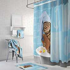 Gwein Animals Funny Kitten Cat Bathing Decor Shower Curtain Polyester  Fabric Mildew Proof Waterproof Cloth Shower