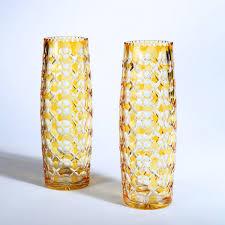 a pair of 1000 eye bohemian glass vases