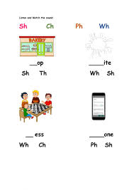 Free interactive exercises to practice online or download as pdf to print. Phonics Wh Sh Ph Ch Worksheet