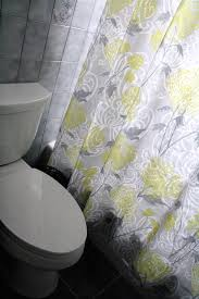 pale yellow and gray curtain for shower