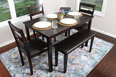 4 person 5 piece kitchen dining table set 1 table 3 leather chairs 1 bench espresso brown you can find more details by visiting the image link