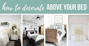 photo collage of 4 photos showing options of above bed decor with text overlay that says