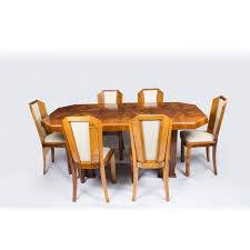 1930s art deco burr walnut dining table 6 chairs c 1930 england roun walnut dining table
