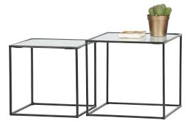 woood side tables miles metal glass set of 2
