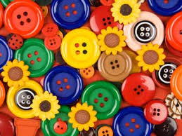 Bright plastic buttons like these can add texture and color to a collage.