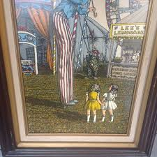 h hargrove framed signed oil painting circus clown on stilts home garden in wheaton il