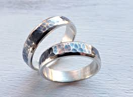 matching silver wedding bands. custom made rustic wedding ring set silver, matching promise rings partially oxidized silver bands m
