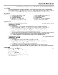 Best Admissions Counselor Resume Example Livecareer