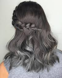 smooth melting from steel to frost gray tiny metallic highlights on black hair