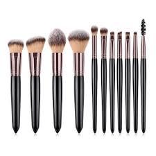 449238 pearl handle tri color hair high end makeup brush 11pcs