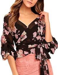 Haoduoyi Size Chart Haoduoyi Womens Chiffon Floral Print Wrap V Neck Top Blouse With Tie