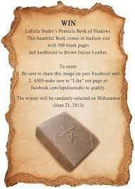win one of our magickal book of shadows this time we are giving away a pentacle book of shadows please read rules written in the ad and enter