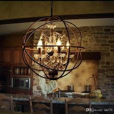 country hardware vintage orb crystal chandelier lighting rustic iron candle chandeliers light globe led pendant lamp real candle chandelier