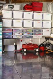 wall of garage shelving and drawers