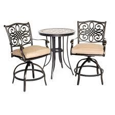 Hd Designs Outdoors Orchards Retro Bistro Set 3 Piece Hanover Monaco 3 Piece Metal Round Patio Bistro Set With