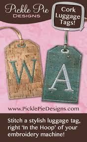 In The Hoop Luggage Tag Designs Monogrammed Luggage Tags Machine Embroidery Projects