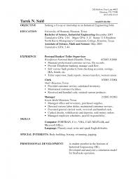 Bank Teller Resume Skills Templates Objective For With No Experie