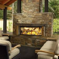 luxury outdoor area massive stone faced outdoor gas fireplace