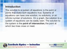 introduction the solution to a system of equations is the point or points that make both