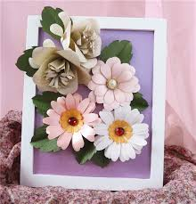 Paper Flower Frame Gift Purple And White Making Stick Paper Flower Craft With Wood