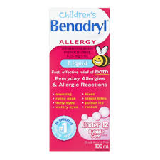 benadryl children s allergy liquid under 12 diphenhydramine hydrochloride 6 25 mg 5ml bubble gum 100ml allergy asthma sinus everyday cines