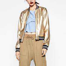whole stylish metal metallic textured golden silver bright pu faux leather jacket er baseball pilots outerwear coat tops femme leather er